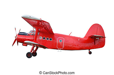 Red airplane biplane with piston engine - Side view of red...