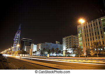 Downtown Manama at Night, Bahrain - Night image of downtown...