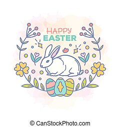 Happy easter card design vector illustration. Line style