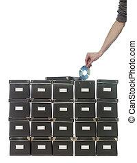 stockage, boîtes