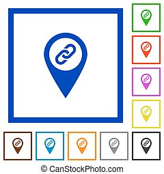 GPS map location attachment flat framed icons