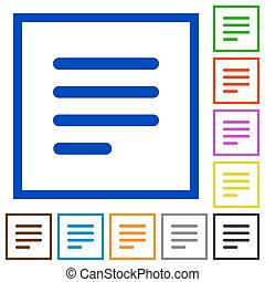 Text align justify last row left flat framed icons - Text...