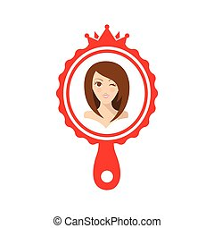 Pretty girl in the red mirror flat illustration. - Flat...