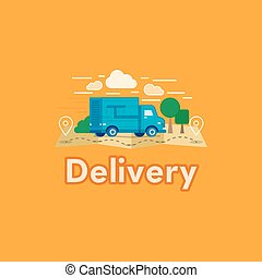 Vector illustration of cartoon delivery van with trees and clouds. Flat style blue truck delivery with text. Logo or mark courier delivery car.