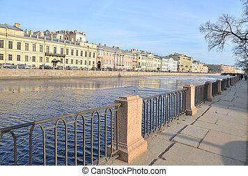 Embankment of Fontanka River. Flow of the Neva delta in St....