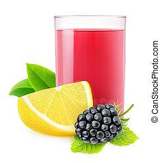 Isolated blackberry lemonade. Glass of blackberry and lemon...