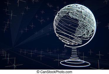 Futuristic terrestrial globe, wireframes, blue background -...