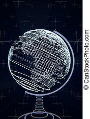 Futuristic terrestrial globe, wireframes, blue background,...