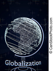 Globalization concept illustrated by a terrestrial globe, wireframes, blue background, 3D rendering