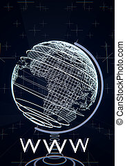 World Wide Web, WWW concept illustrated by a terrestrial globe, wireframes, blue background, 3D rendering