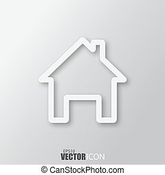 Home icon in white  style with shadow isolated on grey background.