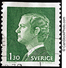 king Carl XVI Gustaf - SWEDEN - CIRCA 1970: A stamp printed...