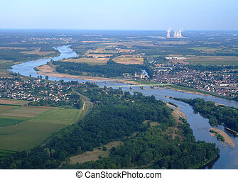 Aerial view of Loire river at Sully sur Loire, France