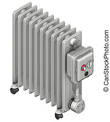 radiator with oil flow - 3d rendering illustration, radiator...