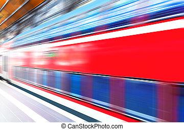 High speed train at railway station platform