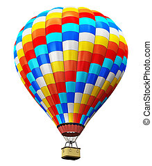 Color hot air balloon isolated on white background -...
