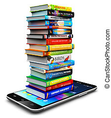 Smartphone and stack of color hardcover books