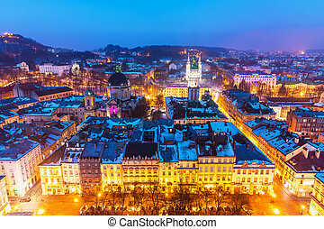 Night aerial view of Lviv, Ukraine