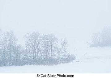 Foggy landscape in the frozen river in Kiev, Ukraine - Foggy...