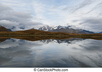 Mountain Lake Koruldi in Georgia, Svaneti - Beautiful...