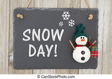 Snow day sign with a snowman - Snow day sign, A chalkboard...