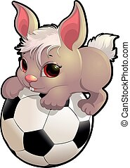 beautiful cute rabbit sitting on the soccer ball