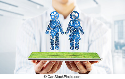 Concept of cooperation or maybe family with two figures presenting couple and relations