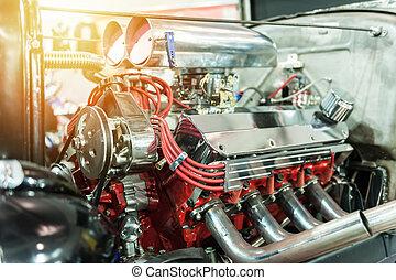 moteur, chaud, tige