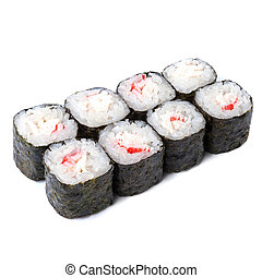 Japanese roll with snow crab isolated on white background...