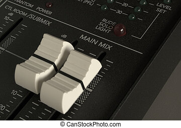 Audio mixer faders detail - Detail of an audio mixer with...