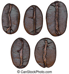 set of coffee beans, isolated on white background, 3d illustration
