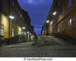 Colorful back alley in the southern parts of Stockholm