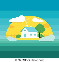 Vector flat style illustration of house in sun weather with trees and clouds. Flat landscape illustration village house.