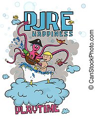 Vector illustration - Pure Happiness - Playtime - Child Play in Bathtub With Toy Pirate Ship And Octopus - For Cards, Prints, T-shirts, Posters, Bags