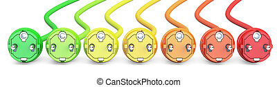 saving energy consumption concept, row from colored plugs....