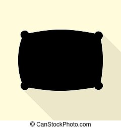 Pillow sign illustration. Black icon with flat style shadow...