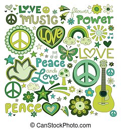 Peace and love - illustrations on a peace and love...