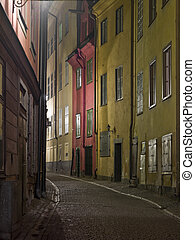 Colorful back alley in the old town of Stockholm