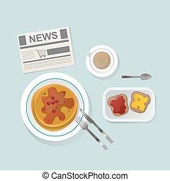 Semolina porridge breakfast top view vector illustration. -...