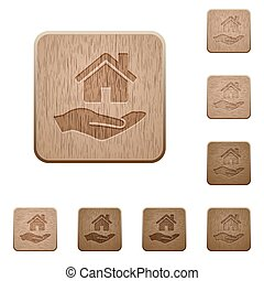 Home insurance wooden buttons - Home insurance on rounded...