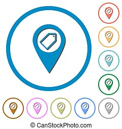 Tagging GPS map location flat framed icons icons with...