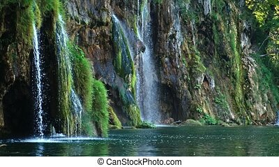 Picturesque waterfalls scenery in Plitvice Lakes National...