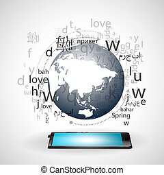 language learning through the internet vector - A cloud of...