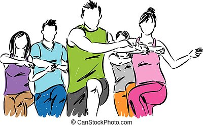 FITNESS GROUP VECTOR ILLUSTRATION.eps - FITNESS GROUP VECTOR...