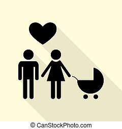 Family symbol with pram and heart. Husband and wife are kept each other`s hands. Love. Black icon with flat style shadow path on cream background.