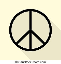 Peace sign illustration. Black icon with flat style shadow...