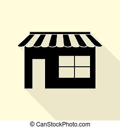 Store sign illustration. Flat style black icon on white.