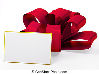 Red ribbon with blank card 3d