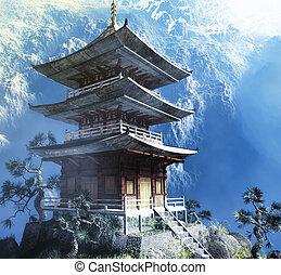 buddhist, zen, tempel