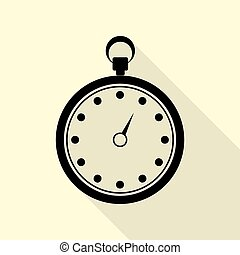 Stopwatch sign illustration. Black icon with flat style shadow path on cream background.